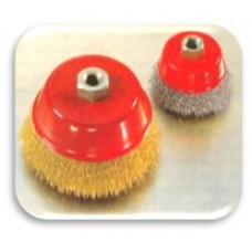 CUP BRUSH - CRIMPED WIRE (Brass Plated - Steel)
